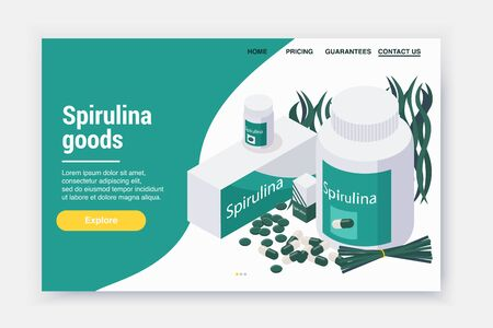 Spirulina isometric landing page web site design with images of sea weed pills and clickable links vector illustration