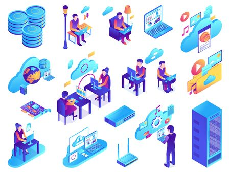 Isometric cloud services set with isolated images of network infrastructure elements with icons pictograms and people vector illustration