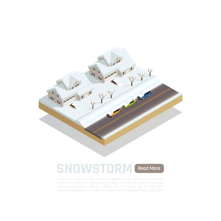 Natural disaster isometric isolated composition with snowstorm in the city description and read more button vector illustration Иллюстрация