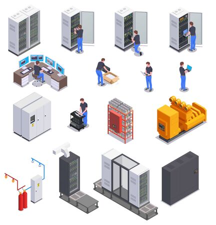 Data center equipment and system administrator character colored isometric icons set 3d isolated vector illustration