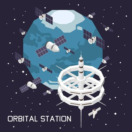 Isometric composition with orbital space station and ship 3d vector illustration