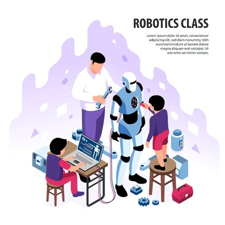 Isometric robotics kids education background composition with editable text and children with adult character building android vector illustration Reklamní fotografie - 135492834