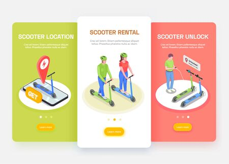 Personal transport isometric banners set with people riding and renting electric scooters 3d isolated vector illustration