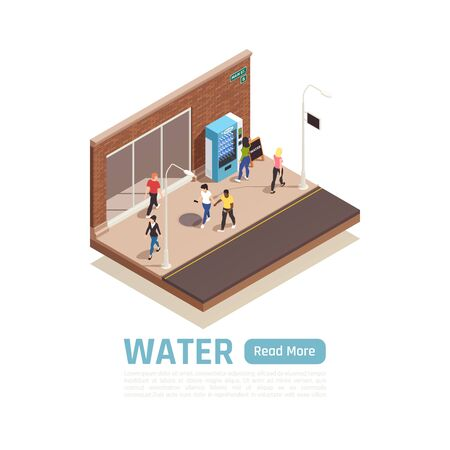 Water delivery isometric background with view of city pavement people and vending machine with water bottles vector illustration