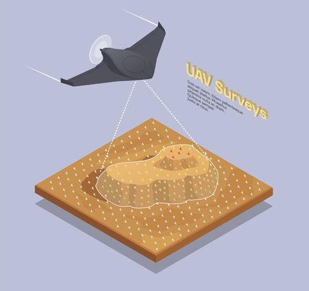 Small air transport isometric composition with flying unmanned vehicle 3d vector illustration