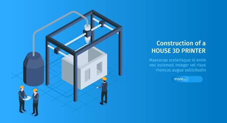 Isometric 3d printing horizontal banner with slider button text and building cage with 3d printer appliances vector illustration