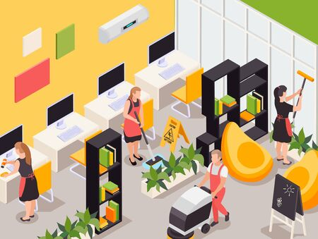 Professional cleaning service team working in college office dusting computer desks bookshelves vacuuming isometric composition vector illustration