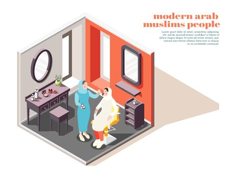 Modern arabian beauty salon interior isometric composition with stylist applying makeup on muslim lady client vector illustration