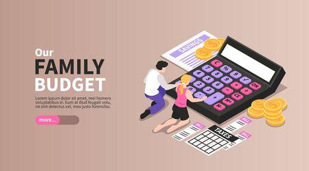 Banner de página de destino horizontal isométrica de presupuesto familiar con pareja calculando ilustración de vector de gastos de ahorro de impuestos sobre la renta mensual