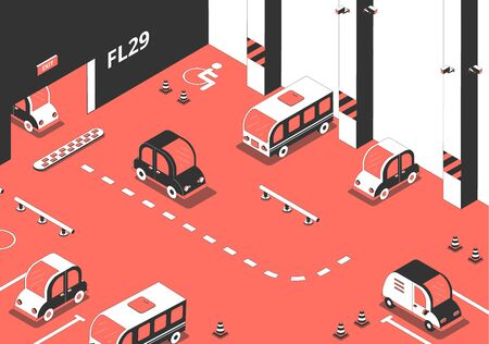 Parking composition with isometric images of cars inside the parking lot building with spots and marks vector illustration
