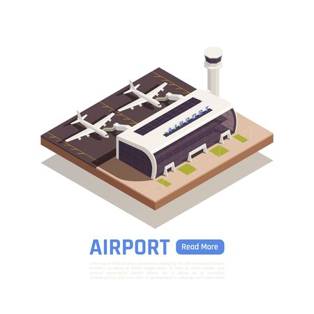 Airport isometric background with images of airplanes near modern terminal building with editable text and button vector illustration