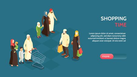 Isometric horizontal banner with arab families doing shopping 3d vector illustration