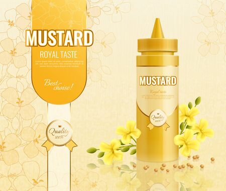 Mustard advertising composition with realistic images of plastic package text and flowers with seeds and sprouts vector illustration