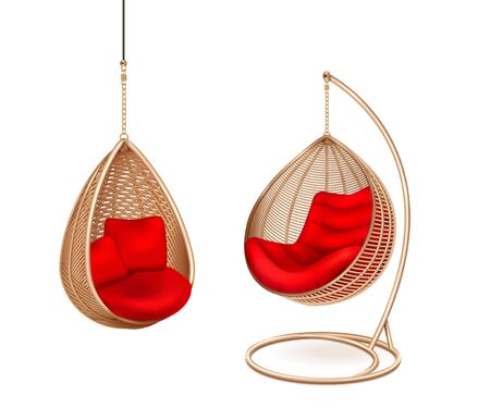 Wicker hanging swing chairs set with two isolated images of modern lounge with soft pillows vector illustration