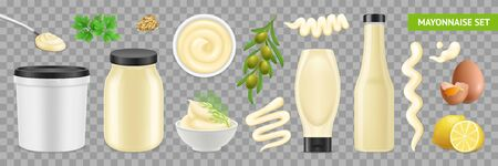 Realistic mayonnaise set with isolated images of ingredients packaging and nutrition plants on transparent background vector illustration  イラスト・ベクター素材
