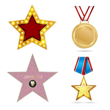 Award metal realistic set with four isolated colourful images of star shaped prizes with shadows vector illustration