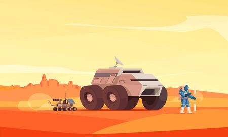 Mars exploration colonization landscape flat composition with astronaut on red dust surface background hills vector illustration