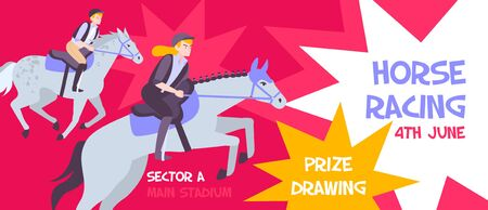 Horizontal and flat horse racing banner with sector a main stadium description on booklet vector illustration Illustration