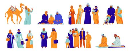 Isolated arabs icon set with different situation arabs family and islam traditions vector illustration Иллюстрация