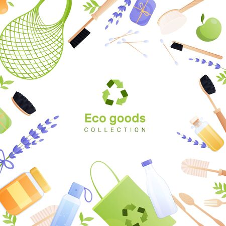 Eco goods flat background composition with collection of bath and body brush cosmetics soap bag vector illustration