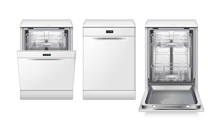 Dishwasher machine realistic set of three isolated images with different views of dish washing machine vector illustration