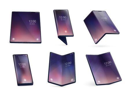 Faltbares Smartphone-Formkonzept realistische Bilder mit aufgeklappten Geräten, größere Tablets wie Displays, isolierte Vektorillustrationen Vektorgrafik