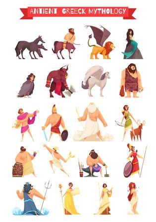 Greek gods heroes and mythical creatures cartoon set with zeus poseidon prometheus centaur griffon isolated vector illustration