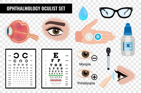 Ophtalmic eye set with isolated images of vision checking tables eyes and medication on transparent background vector illustration  イラスト・ベクター素材
