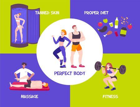 Composition corporelle sportive avec concept de design personnages humains des athlètes diététique nourriture et légendes de texte modifiables illustration vectorielle
