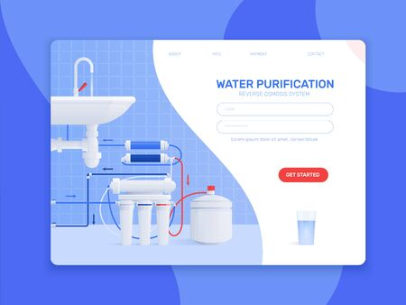 Colored flat water filter composition or landing page with water purification reverse osmosis system headline and get started button  向量圖像