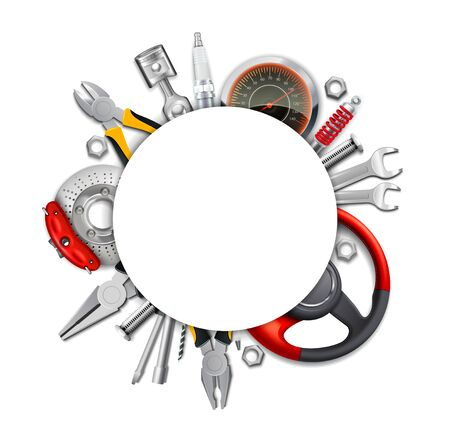 Car parts frame realistic composition with empty circle space on top of automobile tools and elements vector illustration 向量圖像