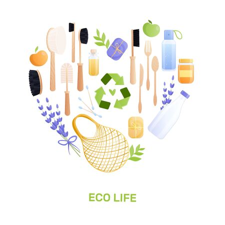 Eco goods flat composition with heart shaped set of isolated recyclable items and editable text vector illustration
