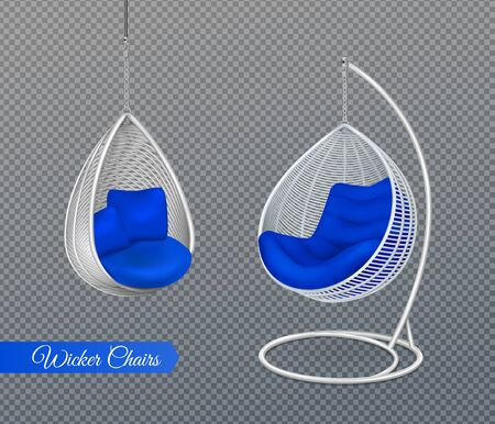 White wicker hanging swing chairs realistic composition on transparent background with modern furniture and editable text vector illustration