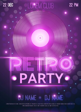 Retro party club announcement invitation  poster with realistic vinyl record disc glowing purple lights background vector illustration