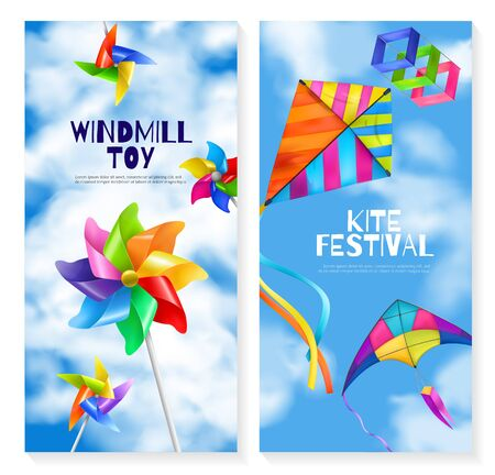 Two vertical and realistic kite wind mill toy banner set with two different holiday flying games vector illustration