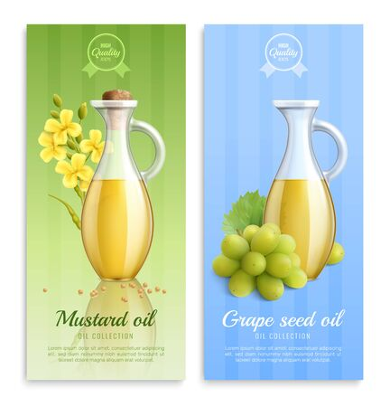 Mustard realistic banner set with mustard oil and grape seed oil oil collection descriptions vector illustration