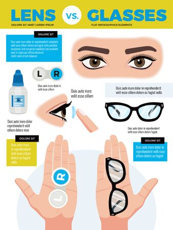 Eye lenses eyeglasses background composition with editable text and human eyes with hands and glasses vector illustration  イラスト・ベクター素材