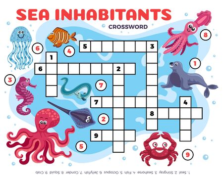 Sea inhabitants funny crossword composition with editable text digits and images of fishes and marine animals vector illustration