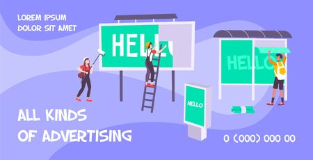 Advertising banner agency flat background with editable text and images of people posting ads on billboards vector illustration