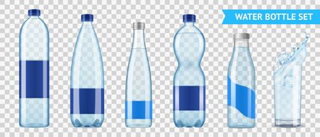 Realistic mineral water bottle set of six isolated images of plastic bottles for liquid on transparent background vector illustration Illustration