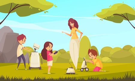 Robotics toys for kids vector illustration with children playing in nature with robots under supervision of adult woman Banque d'images - 135676762
