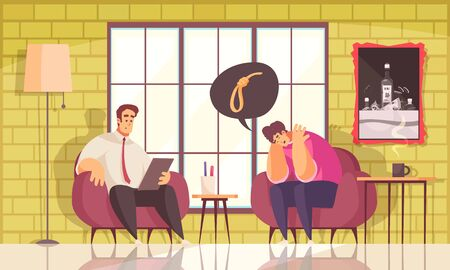 Psychotherapy suicide prevention treatment flat composition with male patient therapy session in clinical psychologists office vector illustration