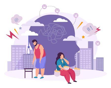 Composición plana de trastornos mentales con personajes masculinos y femeninos que sufren de bulimia y manía suicida ilustración vectorial Ilustración de vector