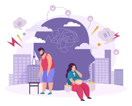 Mental disorders  flat composition with male and female characters suffering from bulimia and suicidal mania vector illustration