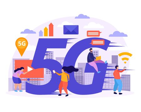 High speed internet flat composition with 5G big signs little people figurines and web symbols vector illustration