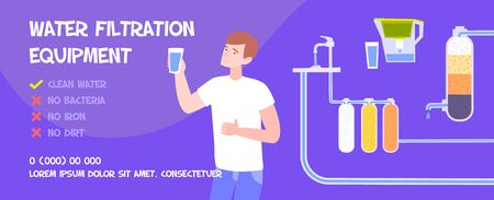 Water filter banner flat horizontal background with editable text human character and water tanks with tubes vector illustration 向量圖像