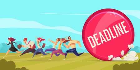 Deadline cartoon composition with business people running to office for performance of urgent work vector illustration