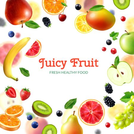 Fruits and berries background with realistic banana cranberry apple orange strawberry mango kiwi vector illustration