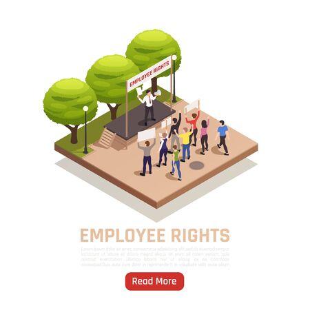 Arbeitsstreik-Aktion im Freien mit Arbeitnehmern, die ihre Rechte unter isometrischer Zusammensetzungsvektorillustration des Gewerkschaftsschutzes verteidigen Vektorgrafik