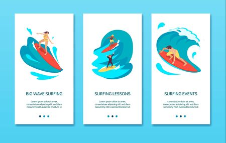 Surfing association big wave events instructors lessons equipment 3 vertical isometric banners blue background vector illustration